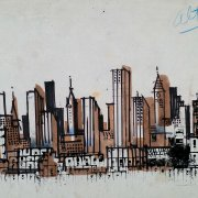 New York, 1963, timbri, matite e china su carta, cm 25x35,4